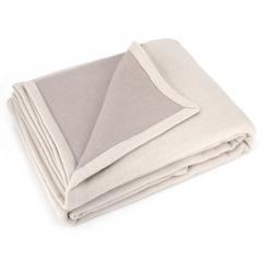 Couverture été 240x300 cm 100% coton 260 g/m2 PROVENCE bicolore ecru galet/mastic