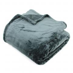 Couverture polaire 220x240 cm Microfibre 100% Polyester 320 g/m2 VELVET Gris Acier