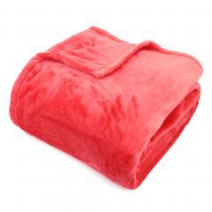 Couverture polaire 240x260 cm Microfibre 100% Polyester 320 g/m2 VELVET Orange Corail