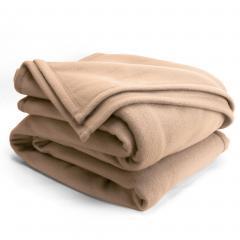 Couverture polaire 180x220cm Isba, Sable - 100% Polyester 320 g/m2, traité non-feu