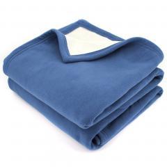 Couverture polaire luxe 180x220 cm 100% polyester 430 g/m2 NARVIK Bleu Pétrole/Naturel