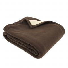 Couverture polaire luxe 240x300 cm 100% polyester 430 g/m2 NARVIK Marron Chocolat