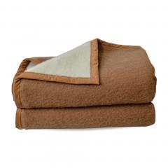 Couverture pure laine vierge Woolmark 600g/m², CYBELE 180x220cm marron Chamois