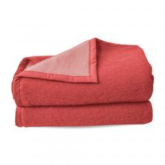 Couverture pure laine vierge Woolmark 600g/m², CYBELE 240x300cm rouge Bois de rose
