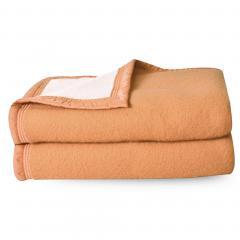 Couverture pure laine vierge Woolmark 500g/m², VOLTA 240x300 cm Marron Sable