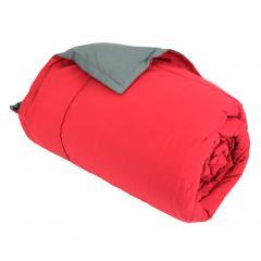 Dessus de lit 160x240 cm microfibre 100% polyester 330 g/m2 FRISBEE bicolore Rouge Groseille et Gris Acier