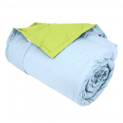 Dessus de lit 240x260 cm microfibre 100% polyester 330 g/m2 FRISBEE bicolore Bleu Glacier et Vert Pistache