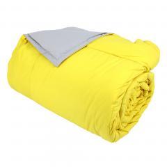 Dessus de lit 240x260 cm microfibre 100% polyester 330 g/m2 FRISBEE bicolore Jaune Bouton d'or et Gris Perle