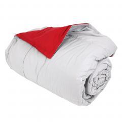 Dessus de lit 240x260 cm microfibre 100% polyester 330 g/m2 FRISBEE bicolore Gris Perle et Rouge Groseille