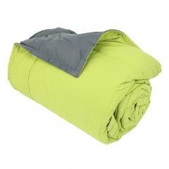 Dessus de lit 240x260 cm microfibre 100% polyester 330 g/m2 FRISBEE bicolore Vert Pistache et Gris Acier
