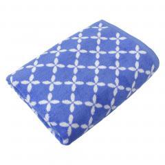 Drap de bain 100x150 cm SHIBORI floral Bleu 100% coton 500 g/m2