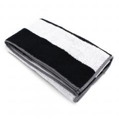 Drap de douche 70x140 cm MONA rayure blanc & noir 100% coton 480 g/m2