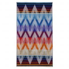 Drap de plage 100x180 cm éponge velours 380 g/m² ASIRANA Chevrons aztèque Rouge / Bleu