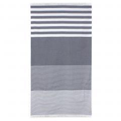Drap de plage Fouta 100x180 cm 100% coton 290 g/m² LIEPAJA Rayures Bleues