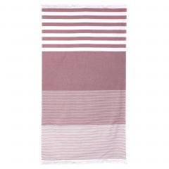 Drap de plage Fouta 100x180 cm 100% coton 290 g/m² PALANGA Rayures Rouges
