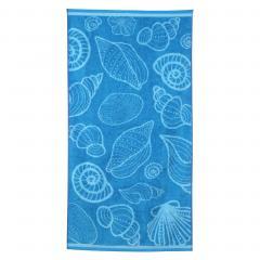 Drap de plage 75x150 cm éponge velours 480 g/m² BONELLI Coquillages Bleu