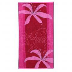 Drap de plage 75x150 cm éponge velours 480 g/m² CARLINO Summer love Rose