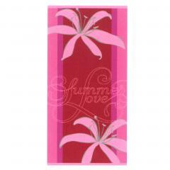 Drap de plage 75x150 cm éponge velours 480 g/m2 CARLINO Summer love Rose