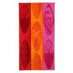 Drap de plage 75x150 cm éponge velours 480 g/m² TORRETTE Palmier tricolore Rose