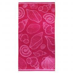 Drap de plage 75x150 cm éponge velours 480 g/m2 VASTO Coquillages Rose