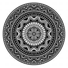 Drap de plage Fouta ronde R180 cm 100% coton 290 g/m² PELOSA Mosaic arabesque Noir