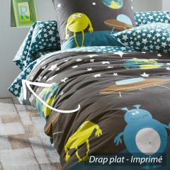 Drap plat 180x290 cm 100% coton MONSTERS
