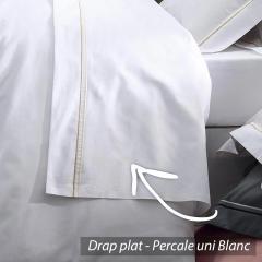 Drap plat 180x290 cm uni Percale pur coton HOTEL DE PARIS Blanc *** DÉSTOCKAGE ***