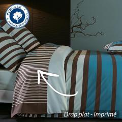 Drap plat 280x325 cm Percale pur coton STRIPE BLEU