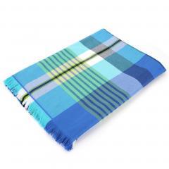Fouta doublée éponge 100x180 cm COCONUT motif carreaux bleu