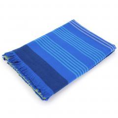 Fouta doublée éponge 100x180 cm JAMAICA rayures bleu