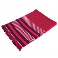Fouta doublée éponge 100x180 cm LUANA fond rouge et liteau rayures