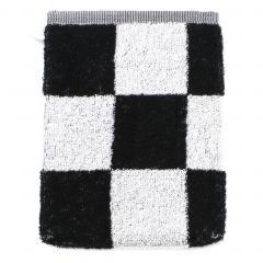 Gant de toilette 16x21 cm MONA carreaux blanc & noir 100% coton 480 g/m2