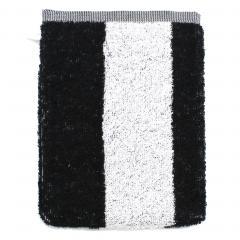 Gant de toilette 16x21 cm MONA rayure blanc & noir 100% coton 480 g/m2