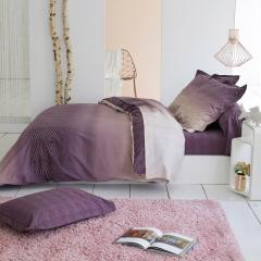 Housse de couette 200x200 cm Percale 100% coton JAMES violet Prune