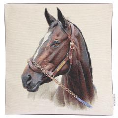 Housse de coussin 45x45 cm CASTEL Cheval de profil - polycoton, acrylique