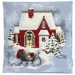 Housse de coussin 45x45 cm ELMO Maison du père Noël - polycoton, acrylique
