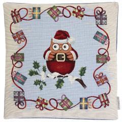 Housse de coussin 45x45 cm LUTAGO Hibou de Noël - polycoton, acrylique