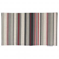 Housse de coussin 30x50 cm TABIANO Lignes rouges et grises - 100% Lin