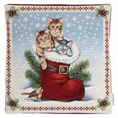 Housse de coussin 45x45 cm TANETO Chatons dans la botte du père Noël - polycoton, acrylique