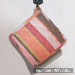 Manique Cocina - Rose, orange, marrons, rayures multicouleurs