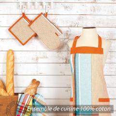 Set de cuisine Cocina 4 pieces : tablier, gant, manique et torchon - Carreaux orange et bleu