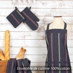 Set de cuisine Cocina 4 pieces : tablier, gant, manique et torchon - Noir rayures vert et rouge