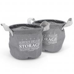 Lot de 2 paniers de rangement 3L gris avec anses Storage