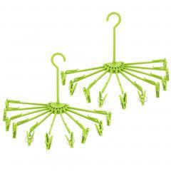 Lot de 2 séchoirs à linge pliables à suspendre avec 10 pinces en plastique vert