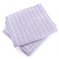 Lot de 2 serviettes de toilette 50x100 cm GRAPHIC HOOK violet