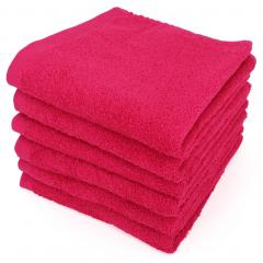 Lot de 6 serviettes de toilette 50x90 cm ALPHA rose Fuschia