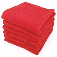 Lot de 6 serviettes de toilette 50x90 cm ALPHA rouge