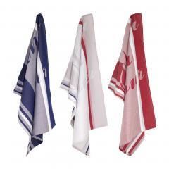 Lot de 3 torchons de cuisine jacquard Anne-de-Solène Marianne Bleu, Blanc et rouge