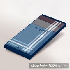 Lot de 3 mouchoirs Homme 43x43 cm Classic Bleu Marron Bordeaux liserés blancs