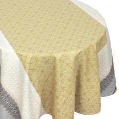 Nappe ovale 170x240 cm Jacquard 100% coton + enduction acrylique CHARLESTON jaune Moutarde